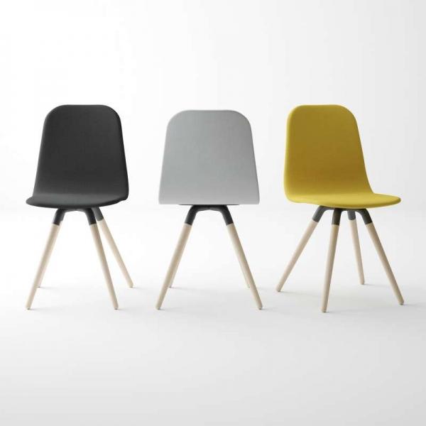 Chaise scandinave en tissu avec pieds en bois - Nuba - 2