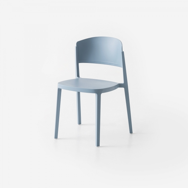 Chaise empilable en technopolymère bleu ciel - Abuela - 3