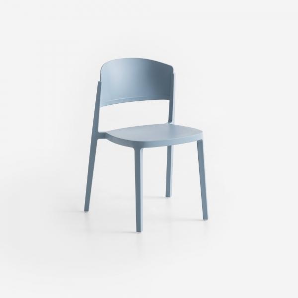 Chaise de terrasse moderne empilable en technopolymère bleu ciel - Abuela - 1
