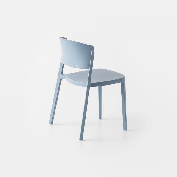 Chaise d'extérieur moderne empilable en technopolymère bleu ciel - Abuela - 3