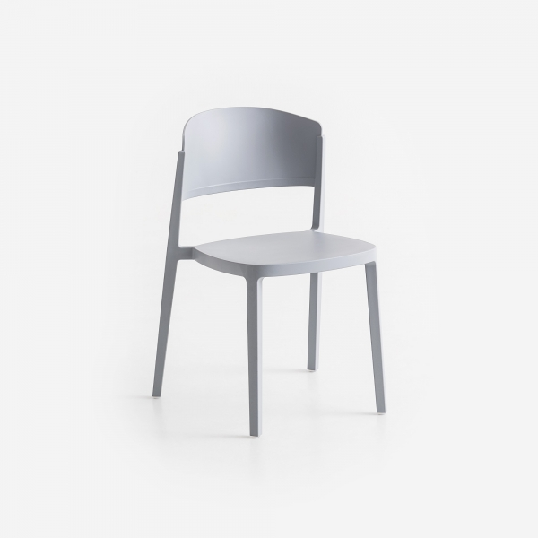 Chaise de jardin empilable en plastique gris - Abuela - 8