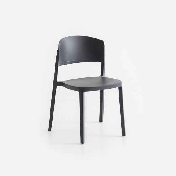 Chaise de jardin empilable en plastique gris foncé - Abuela - 10