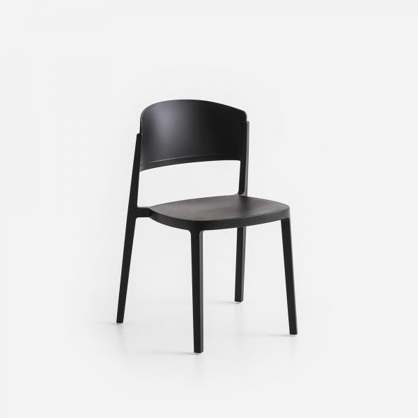 Chaise de jardin empilable en plastique noir - Abuela - 11