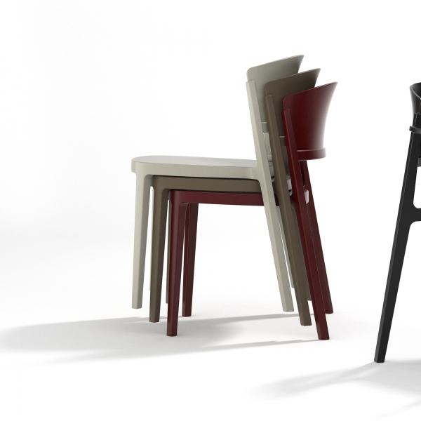 Chaise de terrasse moderne empilable en technopolymère bleu ciel - Abuela - 12
