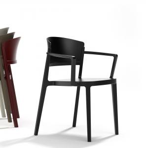 Chaise de jardin avec accoudoirs empilable en technopolymère noir - Abuela B