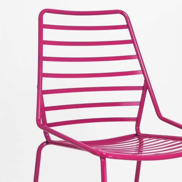 Chaise design en fil métal rose - Link - 5