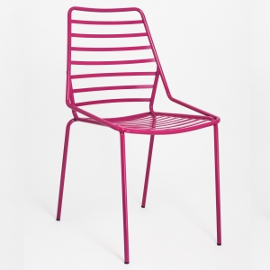 Chaise design empilable en fil métal rose - Link