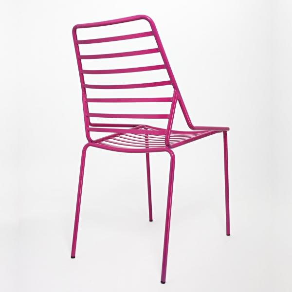 Chaise design empilable en fil métal fuchsia - Link - 3