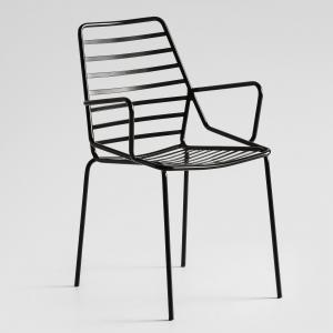 Chaise tendance empilable en fil métal noir avec accoudoirs - Link B
