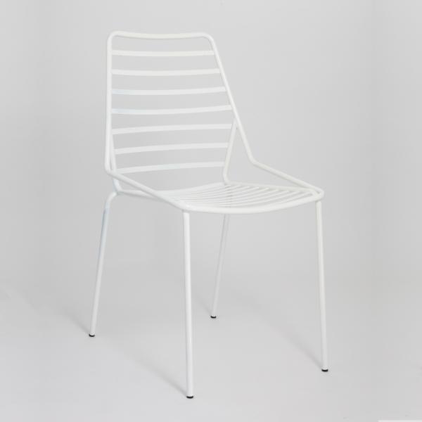 Chaise de jardin design empilable en fil métal blanc - Link - 7