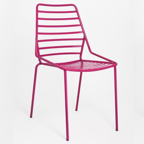 Chaise d'extérieur design empilable en fil métal fuchsia - Link - 2
