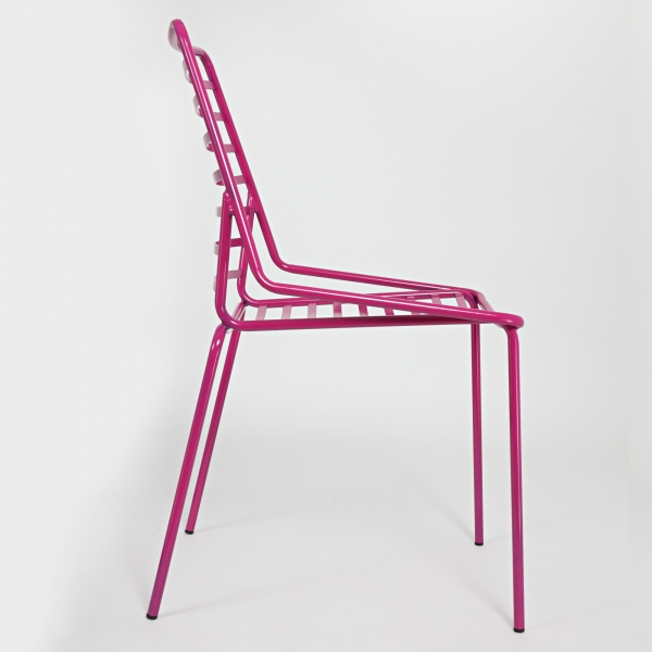 Chaise de jardin design empilable fuchsia - Link - 5