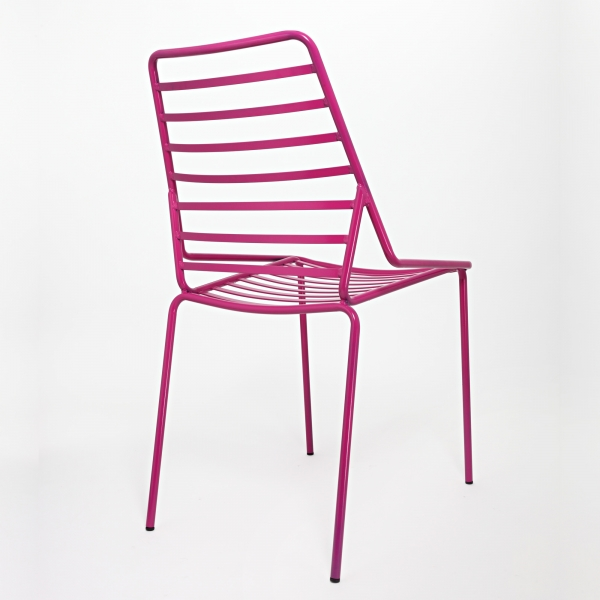 Chaise de jardin design empilable en fil métal rose - Link - 4