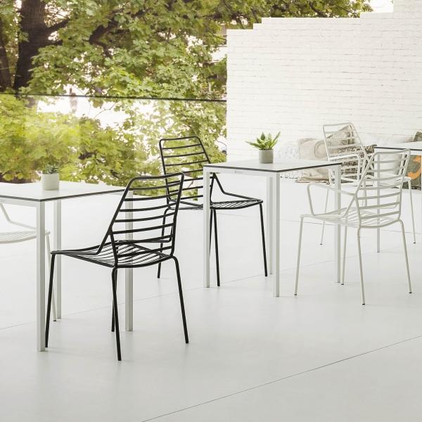 Chaise de jardin design empilable en fil métal - Link