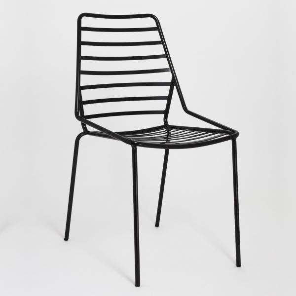 Chaise de jardin design empilable en fil métal noir - Link - 3