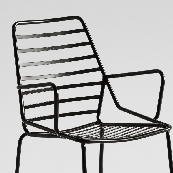 Chaise de jardin design en métal noir avec accoudoirs - Link B - 4