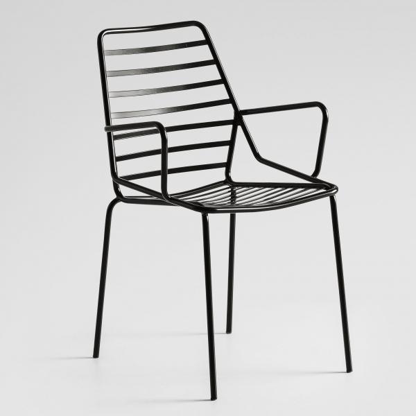 Chaise de terrasse design empilable en fil métal noir avec accoudoirs - Link B - 2