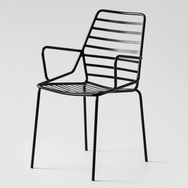Chaise d'extérieur design empilable en fil métal noir avec accoudoirs - Link B - 3