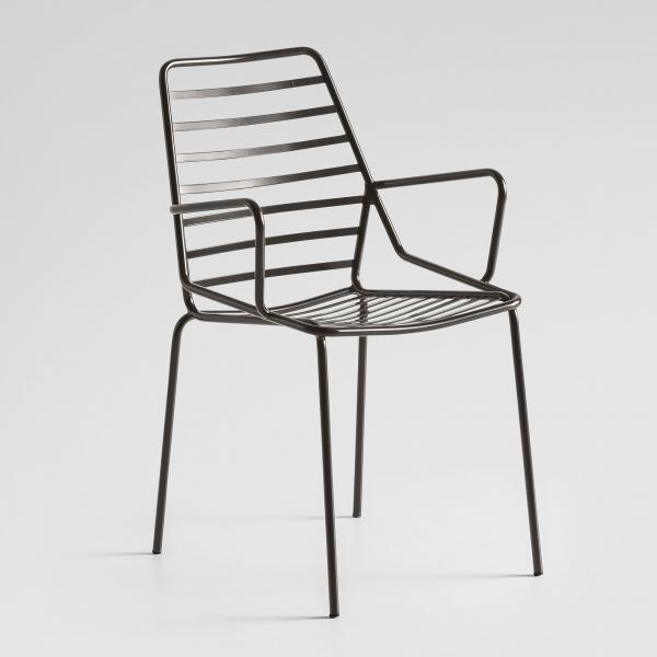 Chaise de jardin design avec accoudoirs en métal gris - Link B - 5