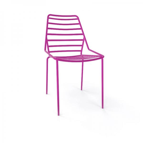 Chaise design empilable en fil métal rose - Link - 26