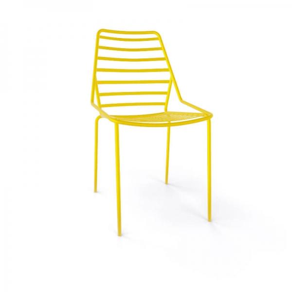Chaise de jardin design empilable en fil métal jaune - Link - 13