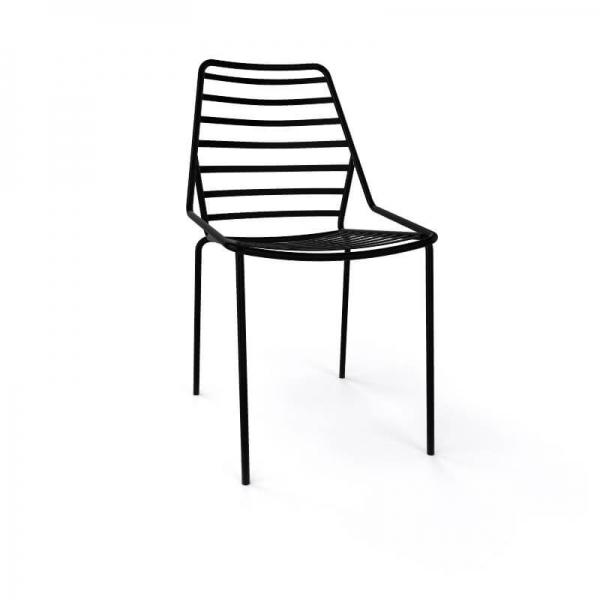 Chaise de jardin design empilable en fil métal noir - Link - 14
