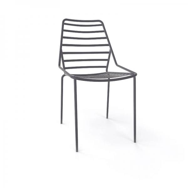 Chaise de jardin design empilable en fil métal gris - Link - 15