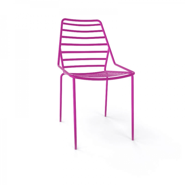 Chaise de jardin design empilable en fil métal rose - Link - 16