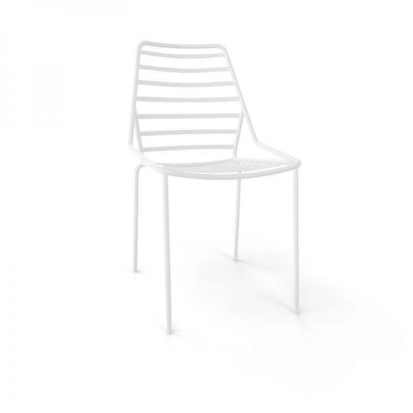 Chaise de jardin design empilable en fil métal blanc - Link - 17