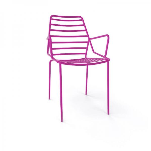 Chaise de jardin design empilable en fil métal rose avec accoudoirs - Link B - 12
