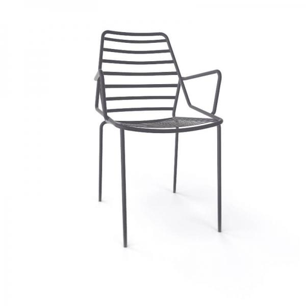 Chaise de jardin design empilable en fil métal gris avec accoudoirs - Link B - 13
