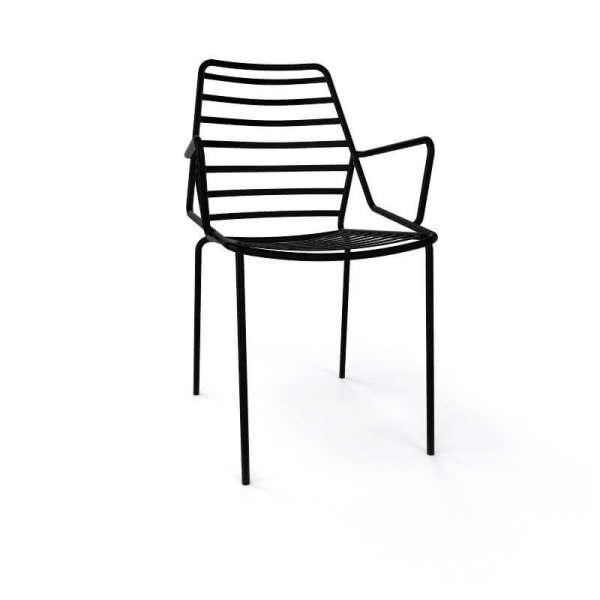 Chaise de jardin design empilable en fil métal noir avec accoudoirs - Link B - 14