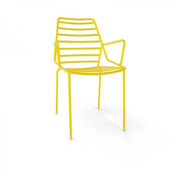 Chaise de jardin design empilable en fil métal jaune avec accoudoirs - Link B - 15