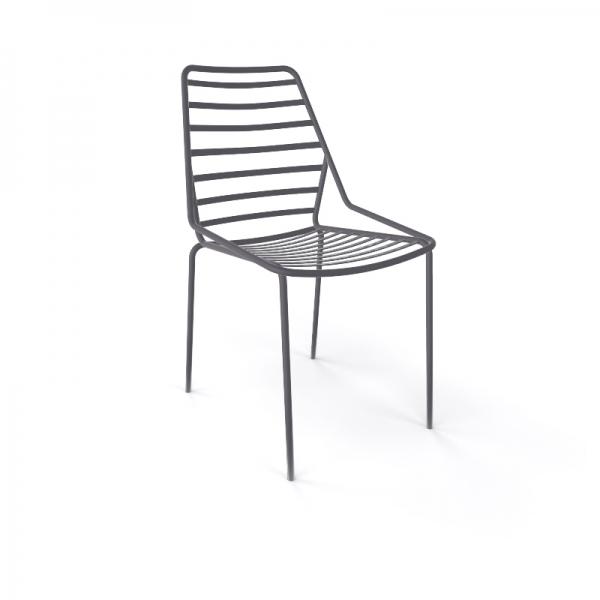 Chaise design empilable en fil métal gris - Link - 14