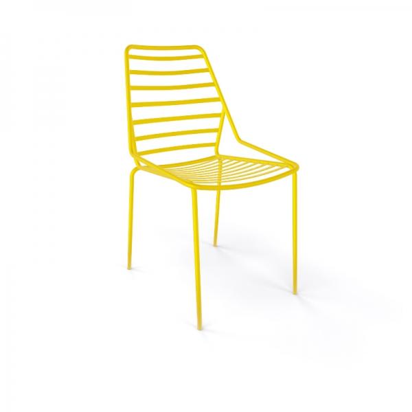Chaise de jardin design empilable en fil métal jaune - Link - 8