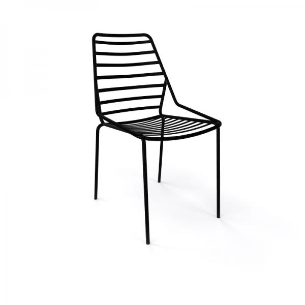 Chaise de jardin design empilable en fil métal noir - Link - 9
