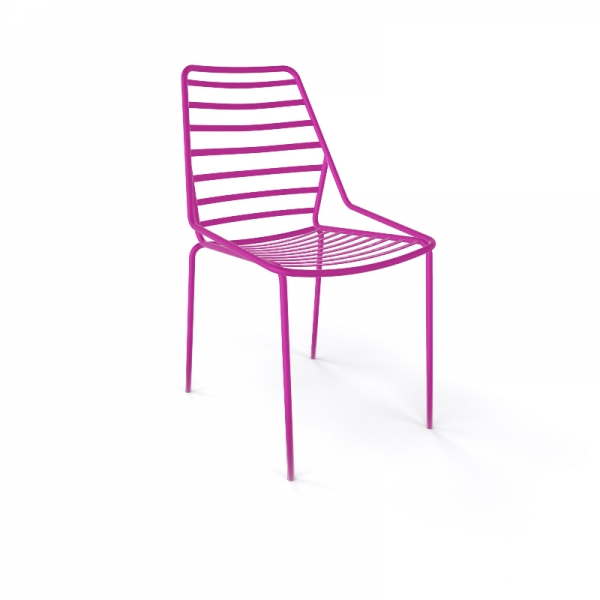 Chaise de jardin design empilable en fil métal rose - Link - 11