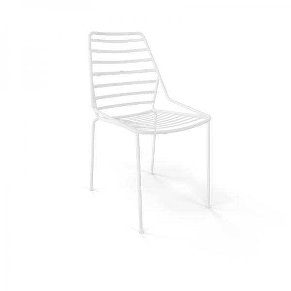 Chaise de jardin design empilable en fil métal blanc - Link - 12