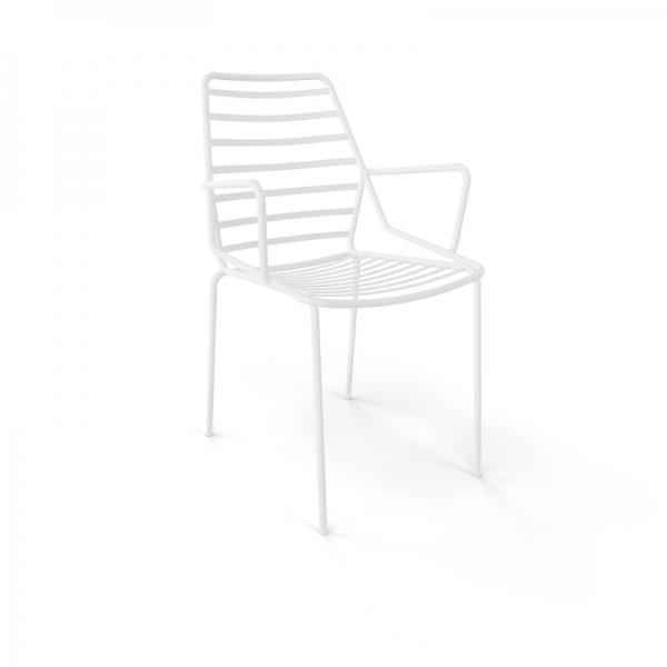 Chaise de jardin design empilable en fil métal blanc avec accoudoirs - Link B - 11