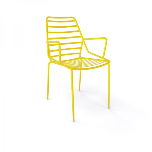 Chaise de jardin design empilable en fil métal jaune avec accoudoirs - Link B - 10