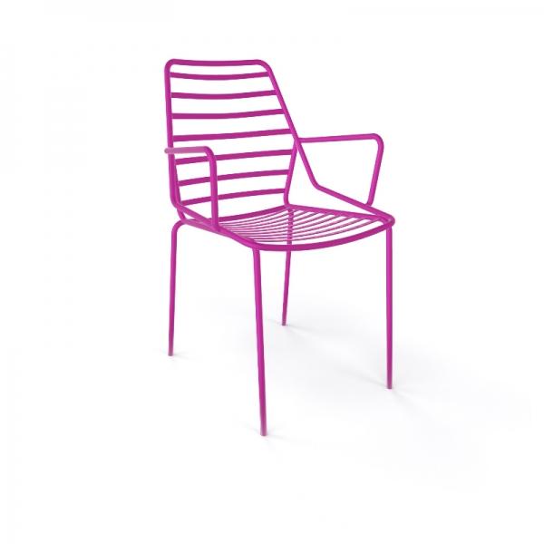 Chaise de jardin design empilable en fil métal rose avec accoudoirs - Link B - 7