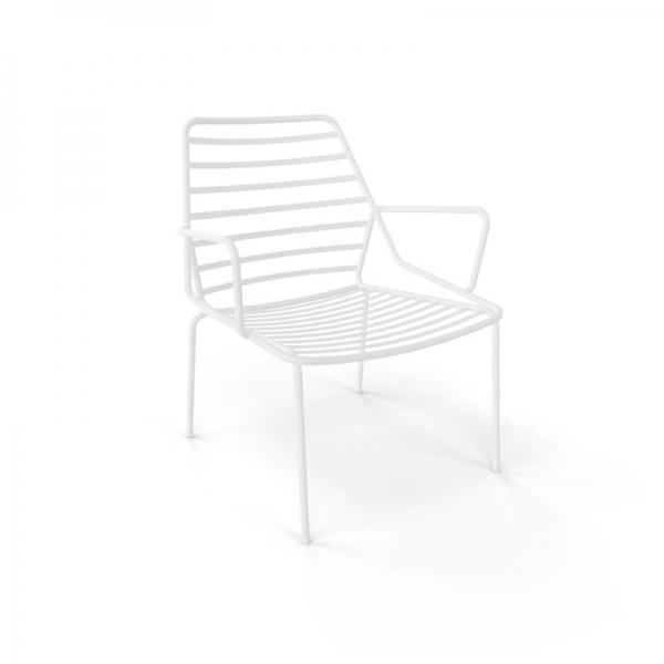 Fauteuil d'extérieur design en fil métal empilable blanc - Link - 4