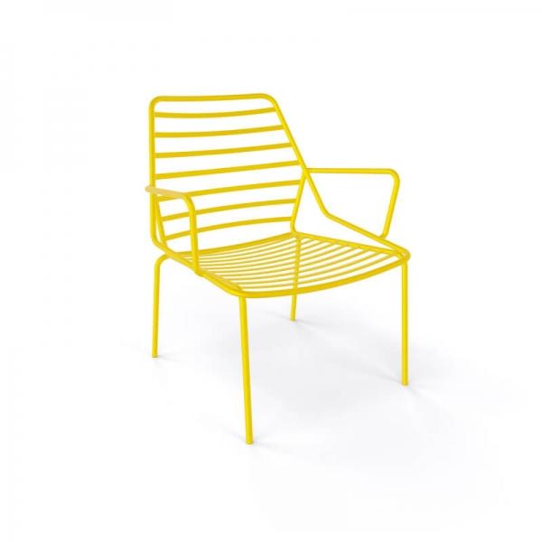 Fauteuil d'extérieur design en fil métal empilable jaune - Link - 5
