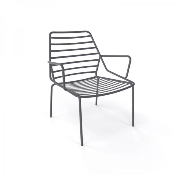 Fauteuil d'extérieur design en fil métal empilable gris - Link - 7