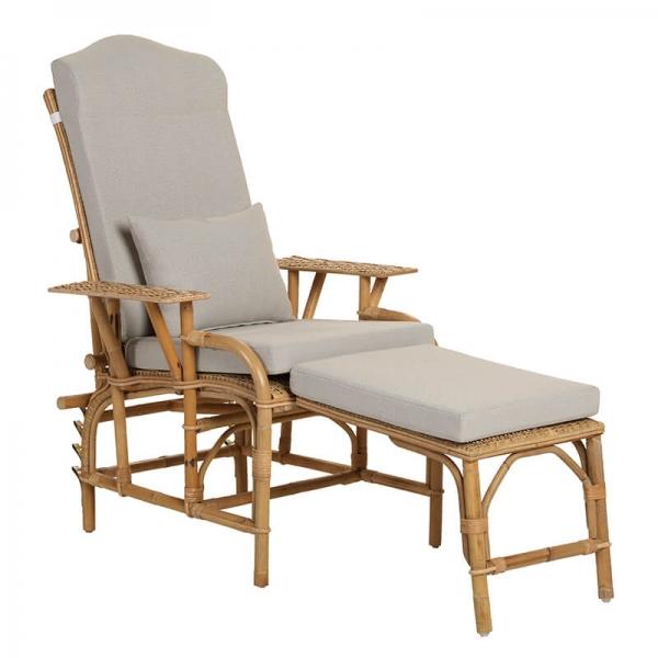 Chaise longue en rotin modulable avec coussin en tissu - Grand mère - 5
