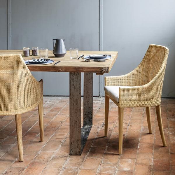 Fauteuil de table en rotin naturel avec coussin en tissu gris - Saigon - 2