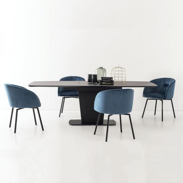 Table de séjour avec allonges en céramique grise - Athos Connubia® - 12