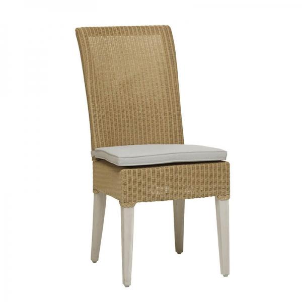 Chaise tressée en loom naturel avec coussin en tissu - Joséphine - 3
