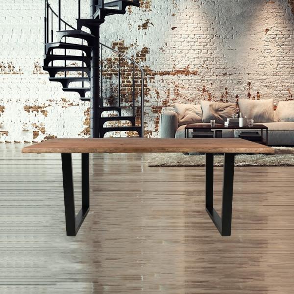 Table industrielle rectangulaire en bois avec pieds traîneau - Planète - 6