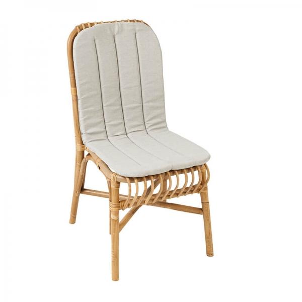 Chaise ethnique en rotin naturel avec coussin en tissu gris - Valérie - 3
